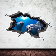 Full Colour 3D ACQUARIO DELFINO sott' acqua con effetto craquelè 3D Muro Arte Adesivo Decalcomania 9
