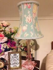 Pink Lucite Table Lamp Shabby Cottage Chic + Vtg Blue Floral Rose Chenille Shade