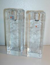 BLENKO Vintage 70s Clear Handmade Glass CANDLE HOLDERS, Heavy Ice Candlesticks