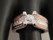 18k Engagement Ring 2.60 tcw Natural Fancy Pink & E/VVS  Diamond European Cut