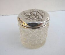 Old Cherubs Solid Silver & Cut Glass Vanity Jar - Hallmarked B'Ham 1909