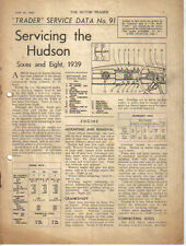 Hudson Sixes & Eight 1939 Motor Trader Service Data No. 91