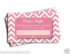 Pink Chevron Printed Diaper Raffle Tickets Girl Baby Shower Games (50-cards)