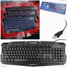 USB Wired LED Gaming Keyboard Backlit Illuminated Multimedia For PC Laptop UK
