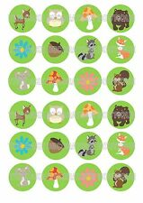 24 Woodland Forest Animals Wafer Rice Paper Cupcake Topper Fairy Cake Toppers