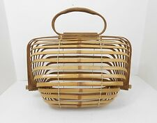 Vtg 1945-52 Made In Occupied Japan Bamboo Wood Slat Birdcage Handbag Purse