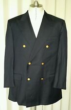 Gieves & Hawkes Navy Blue Double Breasted Jacket 40S or 40R Blazer Gold Button
