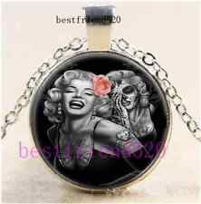 Skull Marilyn Monroe Cabochon Glass Tibet Silver Chain Pendant Necklace