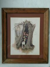 Vintage Framed An April Shower 1974 SCAFA TORNABENE Art publ co inc N.Y. wood $$