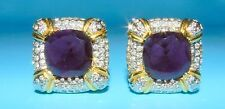 BEAUTIFUL VOGUE BIJOUX SIGNED AMETHYST & CRYSTAL GOLD TONE SQUARE CLIP EARRINGS