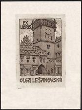 Tschechische Exlibris Radierung um 1920 | Gebäudeansicht aus Prag