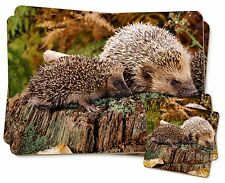 Mother and Baby Hedgehog Twin 2x Placemats+2x Coasters Set in Gift Box, AHE-5PC