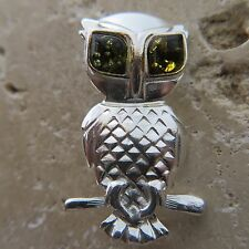 Genuine BALTIC AMBER Owl Brooch STERLING SILVER / Ambre Baltique, Argent #0028