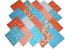 """40 5"""" Quilting Fabric Squares VIBRANT BLUES AND ORANGE/BUY IT NOW!!!"""