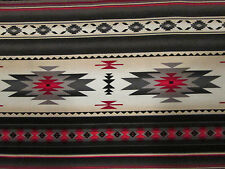Navajo Indian Gray Cream Red Border Print Cotton Fabric FQ