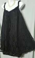 AMOUREUSE SEXY BLACK /BLACK NYLON LINED BABY DOLL NIGHTGOWN WOMEN PLUS SIZE 3X