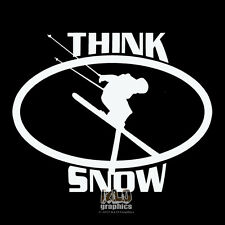 THINK SNOW SKIING vinyl sticker decal for Car Truck SNOWBOARD Helmet Face Board