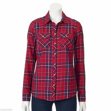 NWT Croft Barrow Womens Plaid Button Blouse Shirt Cotton Silver Red Plus 2X NEW