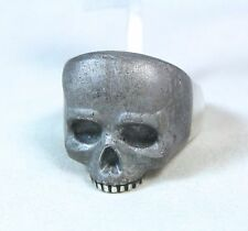 New David Yurman Men's Skull Curved Meteorite Signet Ring Silver Size 11 $1500