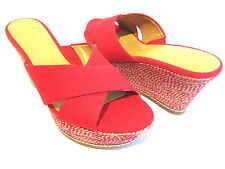 NINE WEST HAVAHA RED CANVAS PLATFORM WEDGE SANDAL WOMAN SHOE SIZE 10.5 M