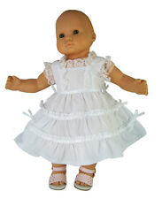 """White Lacy Summer Sun Dress for 15"""" Bitty Baby Doll Clothes"""