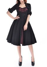 Black Burgundy Mock DoubleSwing Dress Rockabilly Retro Gothic 24 Plus 24W 3X *