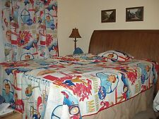 The Six Million Dollar Man $6 bionic man 1970s Set: Bedspread-Pillow-Curtains