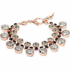 FOSSIL ROSE GOLD TONE+GUNMETAL,BLACK CRYSTAL STUD STATEMENT BRACELET JA6234791