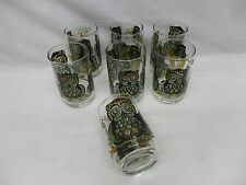 Vintage 1970's Libbey OWL Stained Glass Look Drinking Cocktail Glasses Glassware