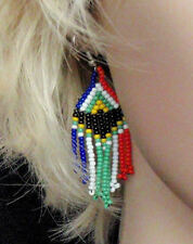Hand made African zulu beaded jewellery drop dangle earrings South African flag