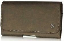 Horizontal Matte Pouch Magnetic Closure for Motorola Droid RAZR Maxx HD - Brown