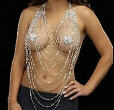 Crystal Lingerie chain bra rhinestone necklace halter - silver