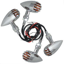 4x Bullet Grill Chrome Turn Signals Light For Harley Dyna Softail Choppe Custom