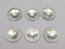 50 Clear Acrylic Flatback Round Rhinestone Gems 18mm Embellishments