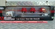 1/64 DCP freightliner semi  red white and blue w/ 3 2580 Gehl Round balers nice!