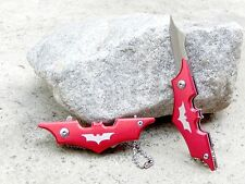 """4.25"""" Red Small Mini Batman Keychain Spring Assisted Pocket Knife Folding Blade"""