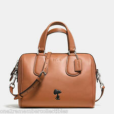 COACH X PEANUTS Brown SNOOPY Large LEATHER SURREY SATCHEL Purse LIMITED EDITION