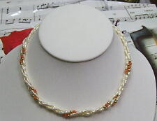 Triple Strand Fresh Water Pearls With Genuine Coral And 14K GF Necklace. FWCN05