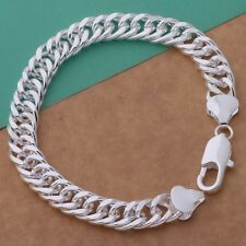 925 Sterling Silver Men's Chunky Solid 10,mm Curb Chain Link Bracelet Great Gift