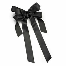 large satin bow ribbon hair clip grip school barrette ha29929 black ladies girls