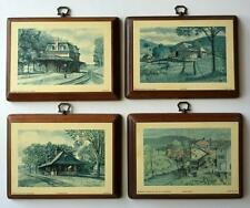 Vintage lot of 4 lithographpictures on wooden plate with metal hange... Lot 50A