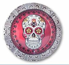 Sugar Skull Design Round Tin Ashtray 5 1/4 Inches Wide New