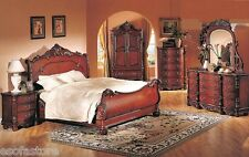 Antique Traditional Formal Luxury Cherry 4 Pc Bedroom Set Queen Bed Furniture