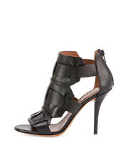 $975+ Givenchy Woven Cage Black Leather Open Toe Sandal Heels Shoes 37 / 7