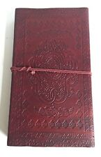 Embossed XL Leather diary 9x5'' Camel Notebook Organiser Handmade Paper Journal