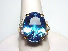 Charming Blue Topaz Solid 14-kt Gold Ring, Magnificent, Bold, Rare-find (#2293)