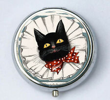 Black Cat Bow Tie PILL CASE pillbox pill holder