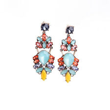 Signature * J CREW Multi Color Teal Purple Orange Yellow Bead Statement Earring