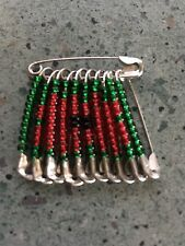 POPPY BEADED SAFETY-PIN BROOCH