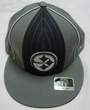 PITTSBURGH STEELERS GREY REEBOK FITTED CAP SIZE 7 3/8